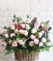 Giỏ hoa chúc mừng để bàn hoa hồng