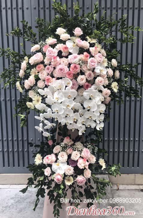 Hoa khai trương hà nội lãng hoa hồng
