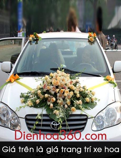 Xe hoa trang trí hoa hồng
