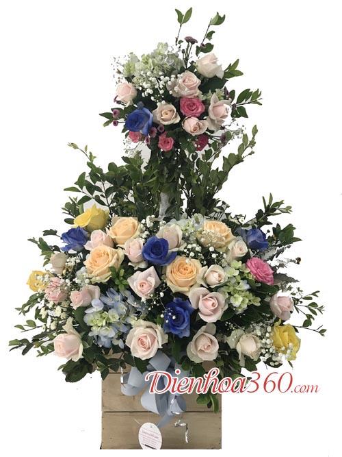 Giỏ hoa chúc mừng 2 tầng | hoa chúc mừng đẹp