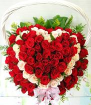 Giỏ hoa hồng tim, giỏ tim đẹp, mẫu giỏ tim