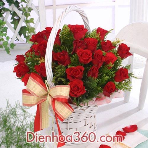 Giỏ hoa sinh nhật – hoa hồng