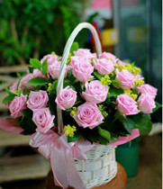 Hoa Tình yêu, shop hoa tươi, giỏ hoa hồng sen