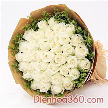 Điện hoa-bó hoa hồng trắng