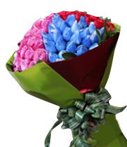 Điện hoa, bó hoa đẹp, mẫu hoa bó đẹp, bó hoa 4 màu, hoa hồng xanh