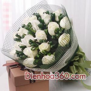Điện hoa Vinh-hoa hồng trắng