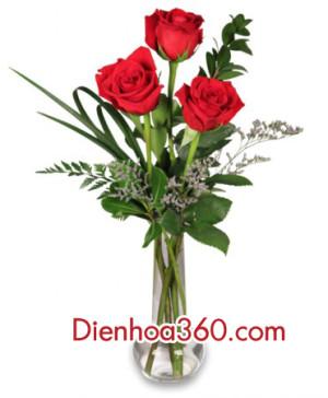 red-rose, vase-flower, dien hoa