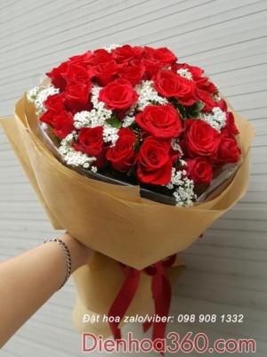 bo hoa hong do dep, hoa sinh nhat