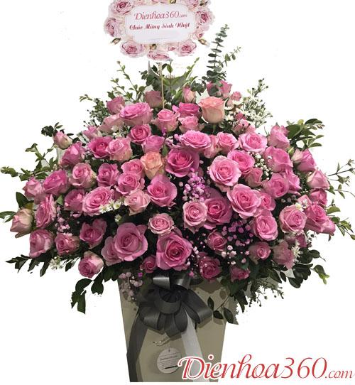 Giỏ hoa hồng sen chúc mừng sinh nhật
