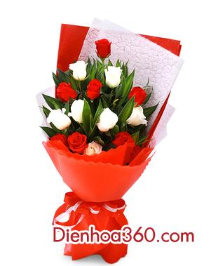 Bó hoa hồng đỏ trắng đẹp