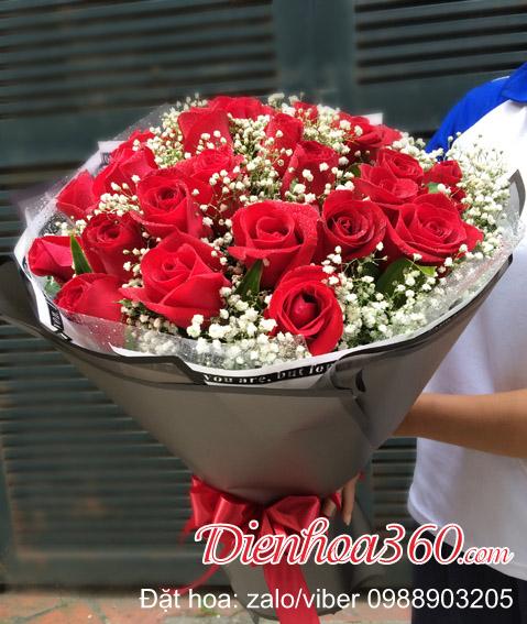 Hoa sinh nhật hoa hồng đỏ đẹp