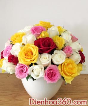 qua tang sinh nhat, binh hoa tuoi
