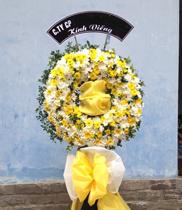 Lãng hoa chia buồn-vòng hoa chia buồn trắng vàng