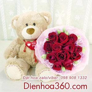 Hoa và gấu-gấu bông
