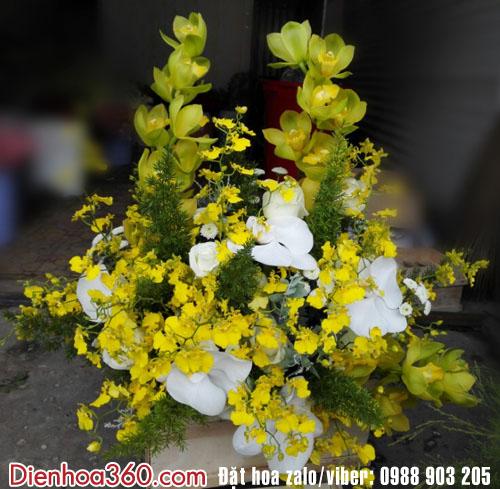 Giỏ hoa sinh nhật địa lan-hoa lan hồ điệp