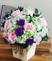 Giỏ hoa cẩm tú cầu-hồng sen-lan tường tím