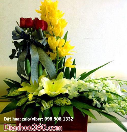 Giỏ hoa chúc mừng đẹp – hoa địa lan_hoa ly