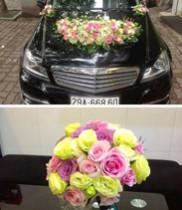 Hoa cưới hồng sen-xe hoa cưới màu hồng