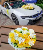 Hoa cưới màu vàng-xe hoa cô dâu màu vàng