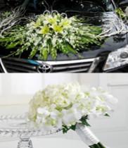 hoa cưới-xe hoa tông màu trắng