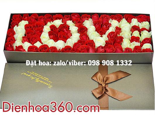 Hoa tình yêu-hộp hoa hồng đẹp