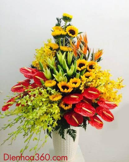 Binh hoa sang trong, binh hoa tang sep, mau binh hoa dep tang sinh nhat