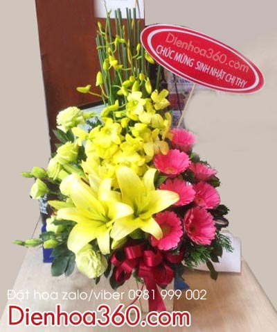 Giỏ hoa đẹp 8/3 | Giỏ hoa lan ly | Giỏ hoa giá rẻ