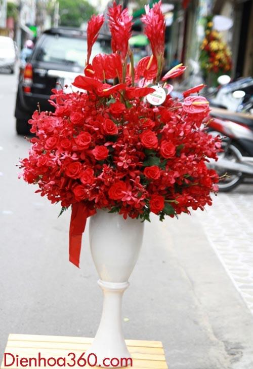 Bình hoa chúc mừng đẹp | Bình hoa hồng | Bình hoa tặng sếp