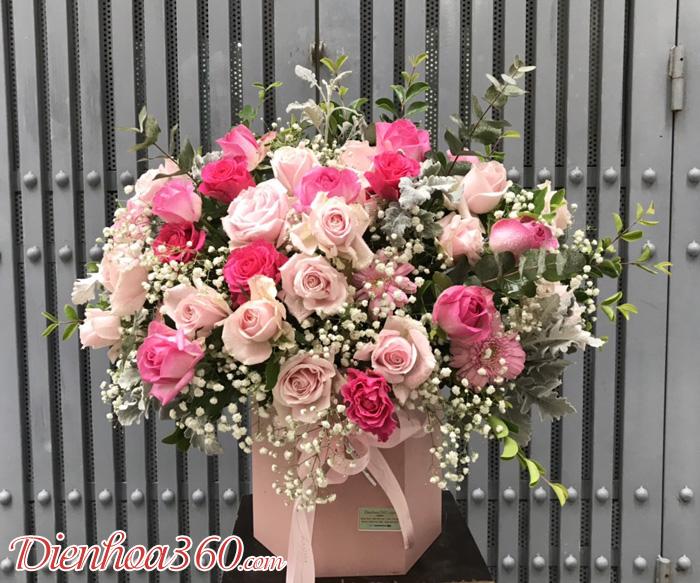 Giỏ hoa đẹp chúc mừng