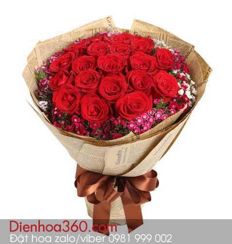 hoa tang valentine, hoa hong do dep