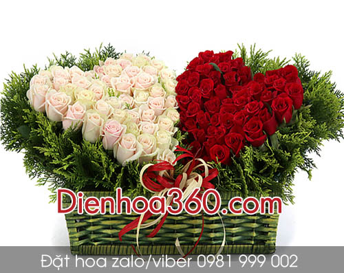 hoa hinh tim dep nhat, hoa tang sinh nhat, hoa hong