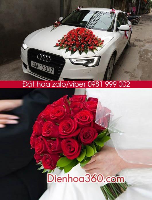 xe hoa cuoi hoa hong do, hoa cam tay dep