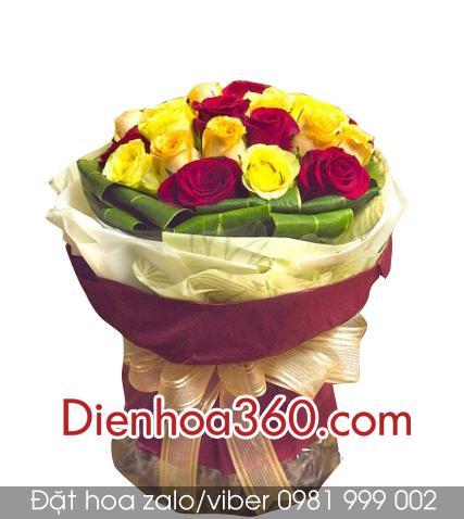 hoa tang sinh nhat, hoa hong, roses-bouquet