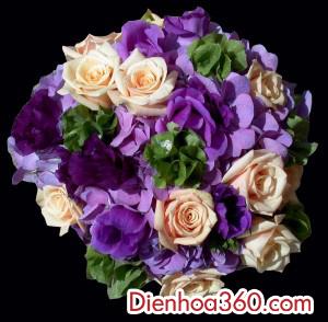 mau hoa cuoi mau tim dep, hoa co dau