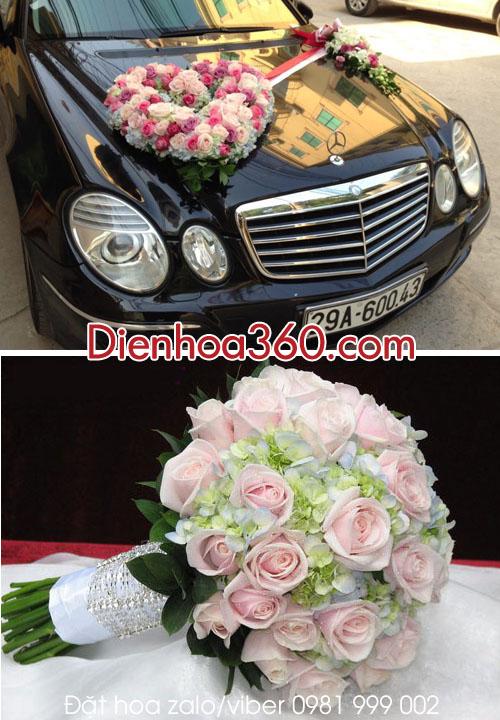 Xe hoa cưới | xe hoa hình tim | flower wedding