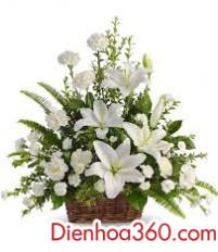 Giỏ hoa viếng đám tang – giỏ hoa chia buồn đẹp sang trọng
