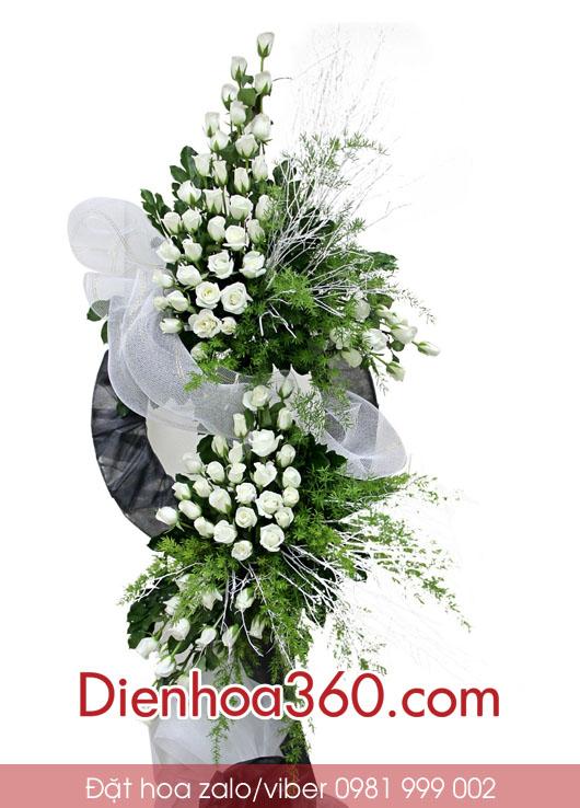 vòng hoa tang lễ,hoa đám tang, hoa hồng