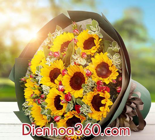 Bó hoa hướng dương, bó hoa tươi đẹp
