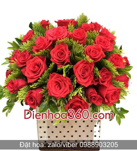 Giỏ hoa tặng sinh nhật hoa hồng
