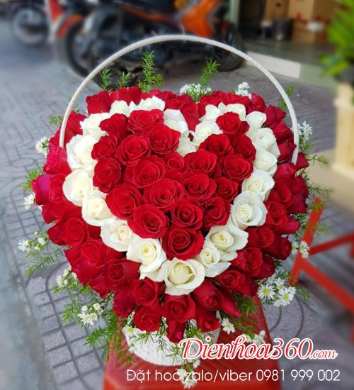 Giỏ tim đẹp nhất – hoa tươi