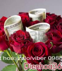 Bó hoa sinh nhật và tiền