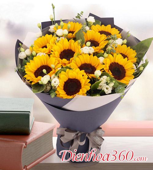 Bó hoa 10 bông hướng dương có nghĩa gì, bó hoa hướng dương
