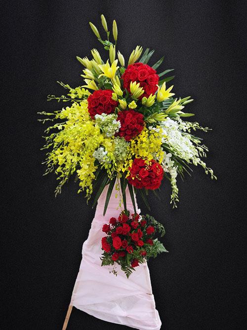 Hoa khai trương đẹp, kệ hoa hồng