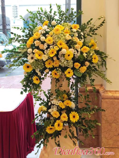 Kê hoa khai trương hoa hồng đẹp