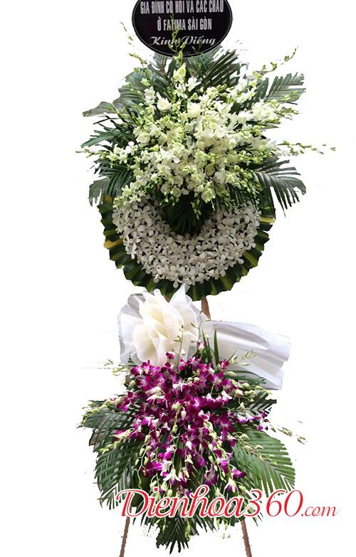 Vòng hoa chia buồn đẹp trắng tím