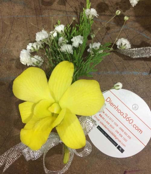 Hoa cài áo đại biểu | hoa cài ngực | hoa lan vàng