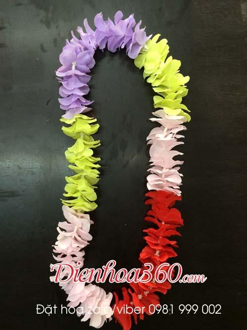Vòng hoa đeo cổ nhiều màu, vòng hoa lụa