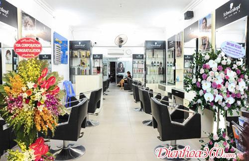 hoa khai trương tiệm tóc