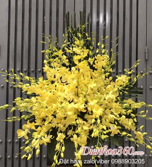 Giỏ hoa viếng đám tang,hoa tang lễ màu vàng