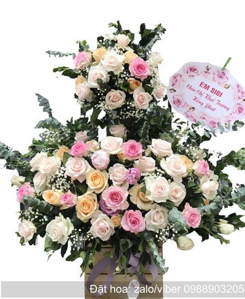 giỏ hoa để bàn chúc mừng đẹp
